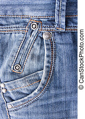 Blue jeans background with pocket