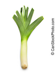 leek - Green leek. Isolated over white background. Fresh...