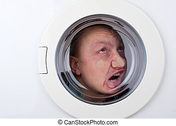 Bizarre man inside washing machine