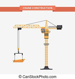 Construction cranes tower. illustration flat