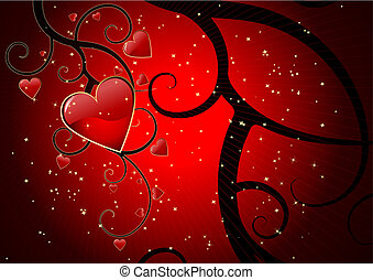 Valentines day background - Grunge editable vector...