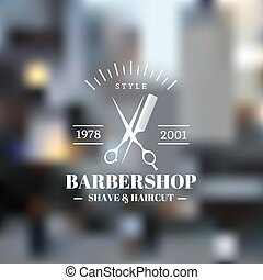 Barbershop - Barber shop icon emblem label or logo on...