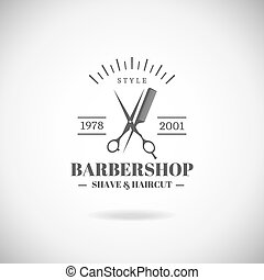 Barbershop - Vector retro barber shop label, badge and...