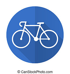 bicycle blue flat desgn icon with shadow on white background...