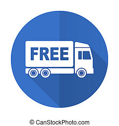 free delivery blue flat desgn icon with shadow on white...
