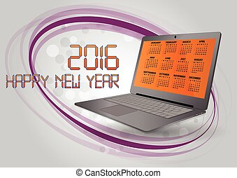 2016 laptop - illustration of 2016 calendar on screen of...