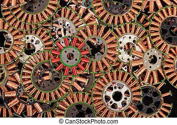cobre, rollos, industrial, Plano de fondo,