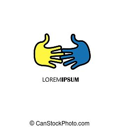 hands together - concept vector of partnership, meeting