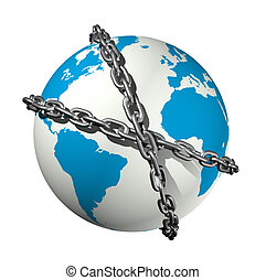 chained world globe - 3D icon illustration of a chained...