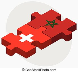 Switzerland and Morocco Flags in puzzle isolated on white...