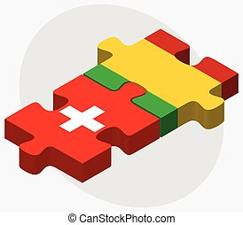 Switzerland and Mali Flags in puzzle isolated on white...