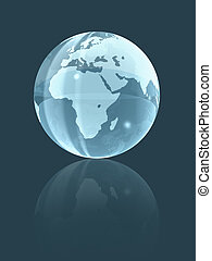 3D world glass globe - isolated background glass earth globe...