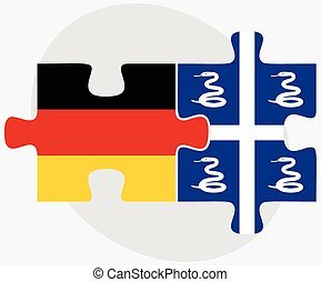 Germany and Martinique Flags in puzzle isolated on white...