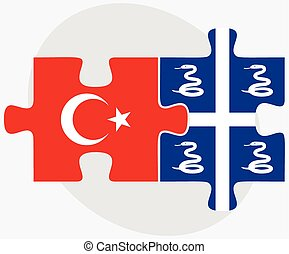 Turkey and Martinique Flags in puzzle isolated on white...