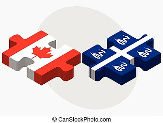 Canada and Martinique Flags in puzzle isolated on white...
