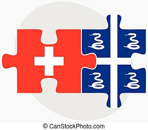 Switzerland and Martinique Flags in puzzle isolated on white...
