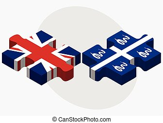 United Kingdom and Martinique Flags in puzzle isolated on...