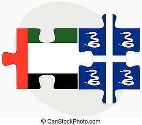 United Arab Emirates and Martinique Flags in puzzle isolated...