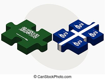 Saudi Arabia and Martinique Flags in puzzle isolated on...