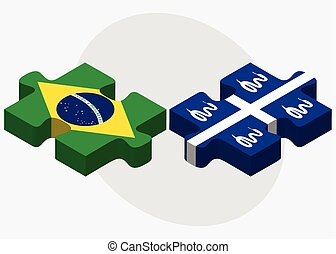 Brazil and Martinique Flags in puzzle isolated on white...