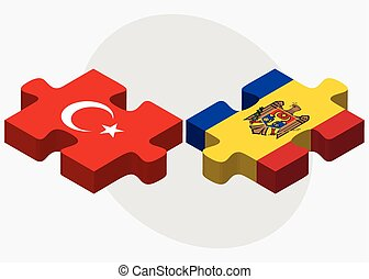 Turkey and Moldova Flags in puzzle isolated on white...