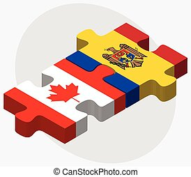 Canada and Moldova Flags in puzzle isolated on white...