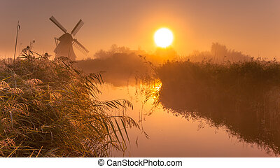 historic windmill on a foggy morning - Typical historic...