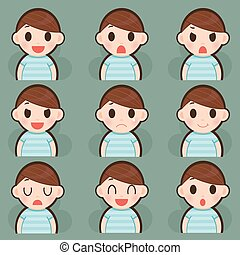 Emotions faces vector character