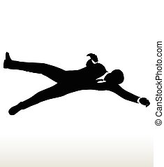 silhouette of businessman - Vector illustration in...