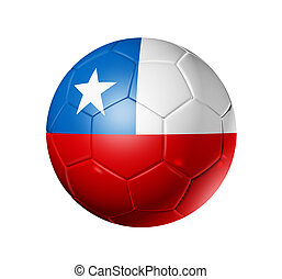 Soccer football ball with Chile flag - 3D soccer ball with...