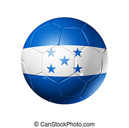 Soccer football ball with Honduras flag - 3D soccer ball...