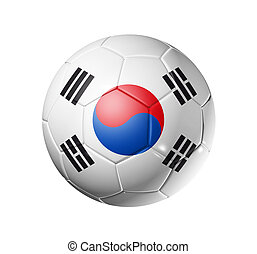 Soccer football ball with south Korea flag - 3D soccer ball...