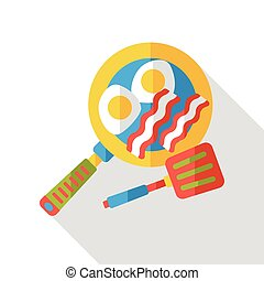 Omelette pan flat icon