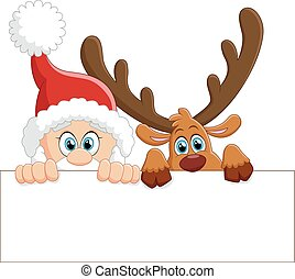 santa and deer holding blank sign
