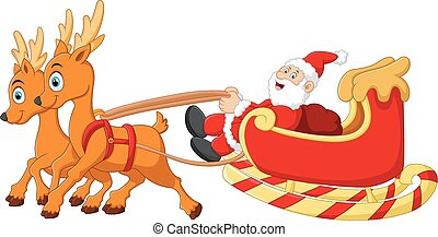 santa riding sledge cartoon - vector illustration of santa...