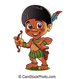 Illustration of a Tough Kid Indian with bow in Hands