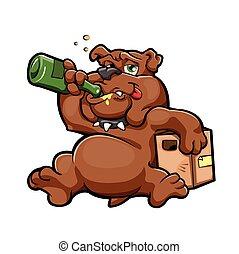 bêbado, cão, caricatura