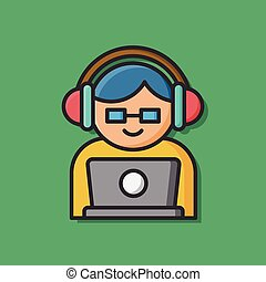 person listening to music icon