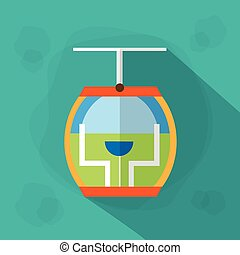 Cable Car Cabin Icon Flat Vector Illustration