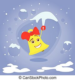 Christmas Bell Hang on Icicle Smile Cartoon Character...