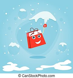 Red Shopping Bag Cartoon Character Hang on Icicle Christmas...