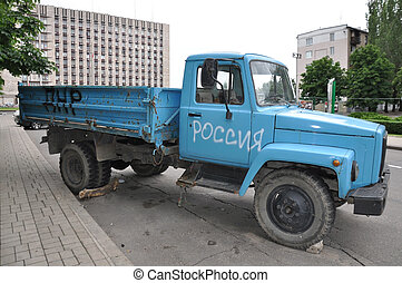 Locked truck near the Donetsk Regional Council - Separatists...