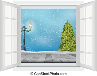 Open window of Christmas tree - Illustration of Open window...