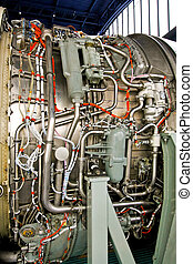 Service jet engine - Side view of opened jet engine in...