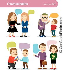 People conversations with speech bubbles - People...