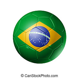 Soccer football ball with brazil flag - 3D soccer ball with...
