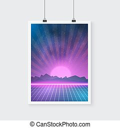 Retro Disco 80s Neon Poster made in Tron style -...