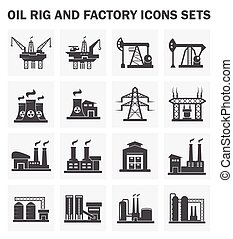 factory icon - Factory building icons on white background
