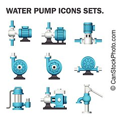 pump icon - Water pump sets isolated on white background.