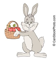 hand drawn cute rabbit with basket of apples. vector illustration